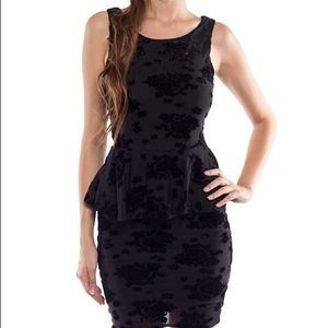 Coveted Clothing Black Peplum BodyCon Dress